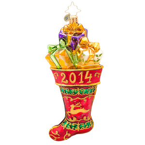 RADKO 1017135 HUNG BY THE CHIMNEY THIS YEAR - DATED 2014 - STOCKING WITH GIFTS ORNAMENT - NEW 2014 (14-2)