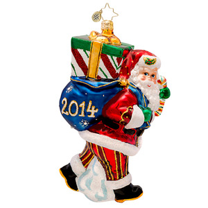 RADKO 1017229 PERFECT TIMING NICK 2014 - DATED 2014 - SANTA WITH GIFT ORNAMENT - NEW 2014 (14-2)
