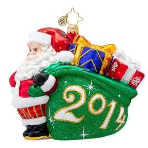 RADKO 1017413 A JOLLY YEAR - DATED 2014 - SANTA WITH A BAG OF GIFTS ORNAMENT - NEW 2014 (14-2)