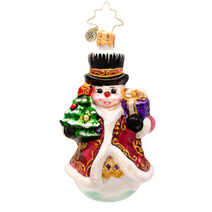 RADKO 1017202 FANCY FROST GEM - SNOWMAN WITH GIFT AND TREE ORNAMENT - NEW 2014 (22)