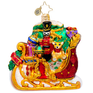 RADKO 1017219 DASHING THROUGH THE SNOW GEM - SLEIGH FULL OF TOYS ORNAMENT - NEW 2014 (22)