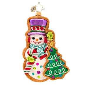 RADKO 1017449 FROSTY SWEET TREAT - SNOWMAN GINGERBREAD COOKIE ORNAMENT - NEW 2014 (14-14)