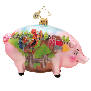 RADKO 1017453 POSTCARD FROM THE FARM - SCENE PAINTED ON PIG ORNAMENT - NEW 2014 (14-14)