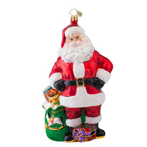 RADKO 1017032 JOB WELL DONE - SANTA WITH GREEN BAG OF GIFTS ORNAMENT - NEW 2014 (14-3)