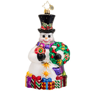 RADKO 1017036 SNOWY OFFERINGS - SNOWMAN WITH WREATH ORNAMENT - NEW 2014 (14-3)