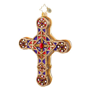 RADKO 1017049 GOLDEN SCROLLS - JEWELED CROSS ORNAMENT - NEW 2014 (14-3)