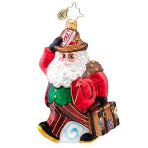RADKO 1017052 GOING ON HOLIDAY - SANTA WITH SUITCASE ORNAMENT - NEW 2014 (14-3)
