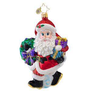 RADKO 1017054 TARDY FOR THE PARTY - WALKING SANTA WITH WREATH & GIFTS ORNAMENT - NEW 2014 (14-3)