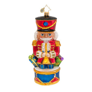 RADKO 1016605 CRACK IT OPEN - NUTCRACKER ON DRUM ORNAMENT - NEW 2013 (13-8)