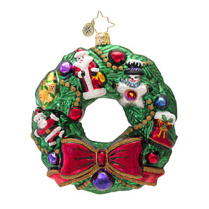RADKO 1016728 BAUBLES AND BOWS - WREATH OF ORNAMENTS ORNAMENT - NEW 2013 (13-13)