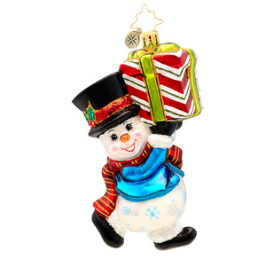 RADKO 1017199 SHIVERY DELIVERY - SNOWMAN CARRYING GIFT ORNAMENT - NEW 2014 (14-8)