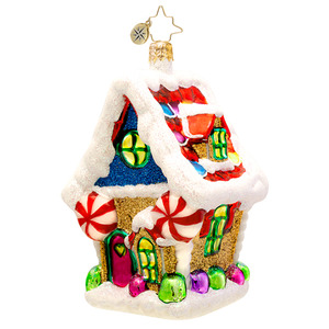 RADKO 1017222 GINGER SWEET HIDEAWAY - CANDY AND GINGERBREAD HOUSE ORNAMENT - NEW 2014 (14-8)
