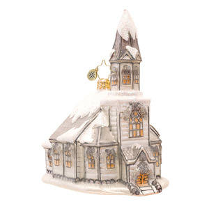 RADKO 1017196 HEAVENLY WINTER CATHEDRAL - SNOW COVERED SILVER CHURCH ORNAMENT - NEW 2014 (14-8)