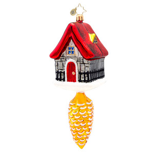 RADKO 1017385 CLASSIC RADKO HOLIDAY INN - HOUSE ON PINE CONE ORNAMENT - NEW 2014 (14-12)