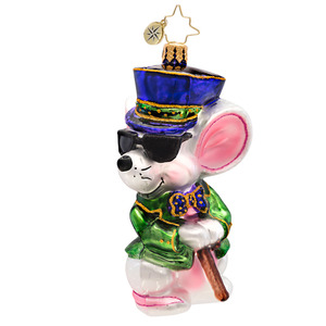 RADKO 1017131 MISCHIEVOUS MOUSE - GREEN JACKET - 1 OF 3 BLIND MICE ORNAMENT - NEW 2014 (14-5)
