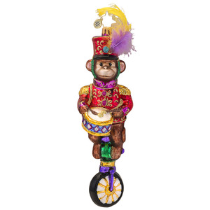 RADKO 1017463 MONKEYING AROUND - DRUMMING MONKEY RIDING UNICYCLE ORNAMENT - NEW 2014 (14-14)