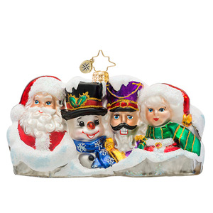 RADKO 1017485 SEASONAL LANDMARK - MOUNT RUSHMORE WITH SANTA SNOWMAN NUTCRACKER AND MRS CLAUS - NEW 2014 (14-15)