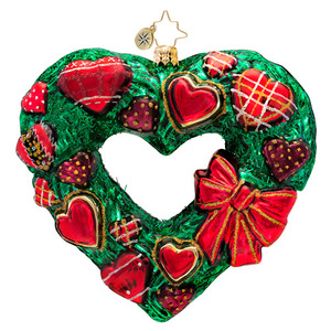 RADKO 1017188 COUNTRY WARM HEART - HEART SHAPED WREATH WITH HEARTS ORNAMENT - NEW 2014 (14-7)