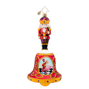 RADKO 1017093 SUITE MELODY GUARD - NUTCRACKER ON BELL WITH PAINTED NUTCRACKER SCENE ORNAMENT - NEW 2014 (14-4)