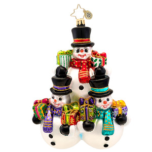 RADKO 1017267 THREE'S COMPANY - 3 SNOWMEN WITH TOP HATS ORNAMENT - NEW 2014 (14-9)
