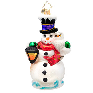 RADKO 1017169 FROSTY MIDNIGHT MEETING - SNOWMAN WITH LANTERN AND OWL ORNAMENT - NEW 2014 (14-7)