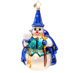 RADKO 1017469 SNOWY SORCERER - MAGICIAN SNOWMAN WITH CAPE AND CRYSTAL BALL ORNAMENT - NEW 2014 (14-14)