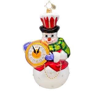RADKO 1017474 WINTER TIME! - SNOWMAN WITH POCKET WATCH ORNAMENT - NEW 2014 (14-14)