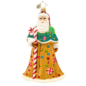 RADKO 1017239 SWEETLY DRESSED - GINGERBREAD SANTA WITH CANDY CANE ORNAMENT - NEW 2014 (14-8)