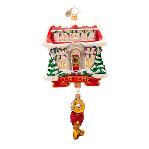 RADKO 1017377 KEY FOR HEART AND HOME - OUR HOME - HOUSE WITH KEY ORNAMENT - NEW 2014 (14-12)