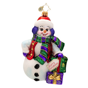 RADKO 1017507 SNOWY GIFT POSE - SNOWMAN WITH GIFTS ORNAMENT - NEW 2014 (14-15)