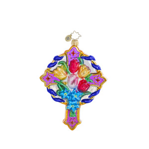 RADKO 1016432 SPRINGTIME BLESSINGS - CROSS WITH TULIPS - FLOWERS - SPRING ORNAMENT - NEW 2013 (13-3)