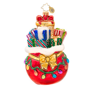 RADKO 1017389 GLOWING THROUGH THE SEASON - BAG OF PRESENTS WITH LIGHTS ORNAMENT - NEW 2014 (14-12)