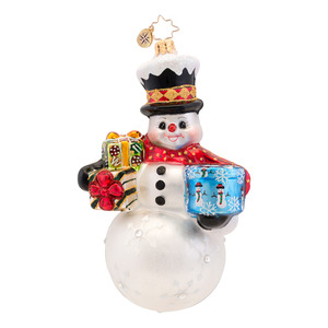 RADKO 1017435 FROSTY DELIVERY - JEWELED SNOWMAN WITH GIFTS ORNAMENT - NEW 2014 (14-13)