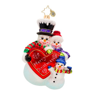 RADKO 1017192 MERRY CHRISTMAS FROM THE FROSTS - SNOWMAN FAMILY WITH HEART ORNAMENT - NEW 2014 (14-7)