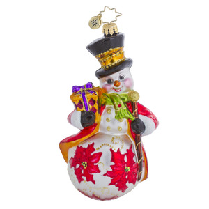 RADKO 1016471 WINTER BLOSSOMS - SNOWMAN WITH POINSETTIAS - SNOWMAN ORNAMENT - NEW 2013 (13-4)
