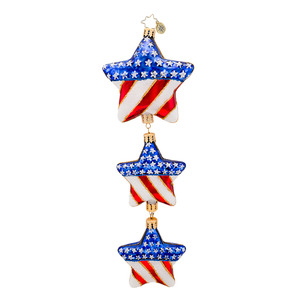 RADKO 1017293 STARS IN YOUR EYES - 3 STARS DANGLE - PATRIOT ORNAMENT - NEW 2014 (14-10)