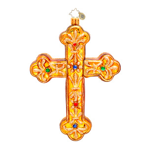 RADKO 1017332 GILDED JEWELS - JEWELED GOLD CROSS - RELIGIOUS ORNAMENT - NEW 2014 (14-11)