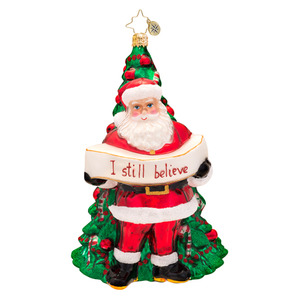 RADKO 1017520 CHRISTMAS LOVE - I STILL BELIEVE - SANTA IN FRONT OF TREE ORNAMENT - NEW 2014 (14-16)