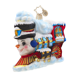 RADKO 1017574 FROSTY EXPRESS - TRAIN WITH SNOWMAN FACE ORNAMENT - NEW 2015 (15-3)