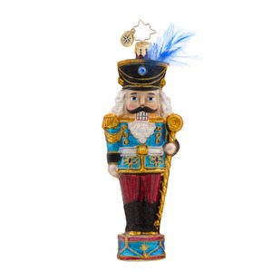 RADKO 1017582 CONDUCTOR CRACKER - NUTCRACKER ON DRUM WITH STAFF ORNAMENT - NEW 2015 (15-3)