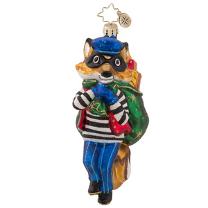 RADKO 1017578 FOXY BANDIT - THIEF FOX WITH BAG OF GIFTS ORNAMENT - NEW 2015 (15-3)