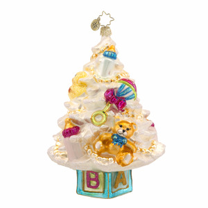 RADKO 1017598 NEWBORN TREE - BABY TREE WITH TEDDY BEAR ORNAMENT - NEW 2014 (15-4)
