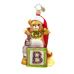 RADKO 1017597 BEARY EXCITED - TEDDY BEAR ON BLOCK - BABY ORNAMENT - NEW 2015 (15-4)