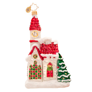 RADKO 1017331 COUNTRY PRAYERS - SNOW COVERED CHURCH ORNAMENT - NEW 2014 (14-11)