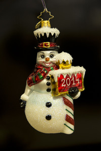 RADKO 3012936 FROSTY YEAR 2014 - STORE EXCLUSIVE - LIMITED PRODUCTION OF 72 - DATED 2014 - SNOWMAN ORNAMENT - NEW 2014 (14-2)