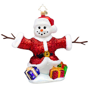 RADKO 1017151 HOLIDAY HUGGER - SNOWMAN IN SANTA SUIT WITH STICK ARMS ORNAMENT - NEW 2014 (14-6)