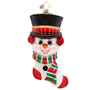 RADKO 1017119 FROSTY N COZY - SNOWMAN AND STOCKING ORNAMENT - NEW 2014 (14-5)