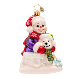 RADKO 1017315 BEST SNOW BUDDIES - SNOWMAN AND SNOW DOG ORNAMENT - NEW 2014 (14-10)