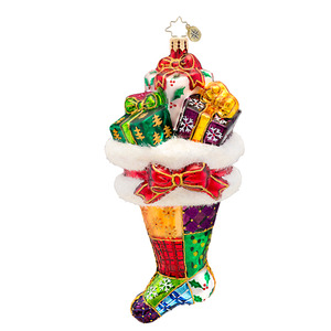 RADKO 1017302 PRESENTLY PATCHED - QUILTED STOCKING WITH GIFTS ORNAMENT - NEW 2014 (14-10)