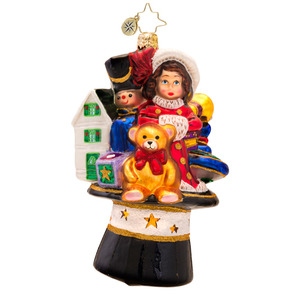 RADKO 1017259 BRIMMING WITH PRESENTS - TOYS IN TOP HAT ORNAMENT - NEW 2014 (14-9)